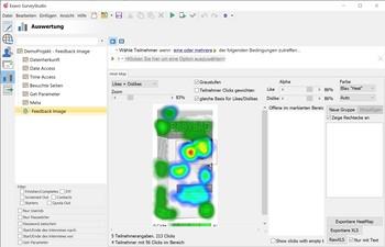 Umfrage Software Exavo SurveyStudio - Feedback Image Heatmap Auswertung