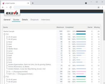 Umfrage Software Exavo SurveyStudio - Umfrage Quotenübersicht